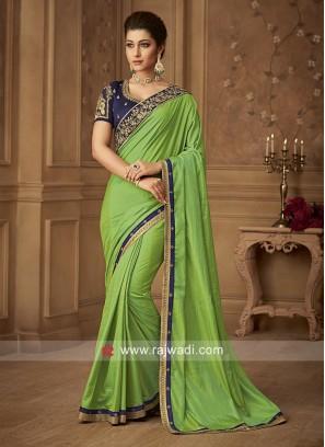 Parrot Green Art Silk Saree
