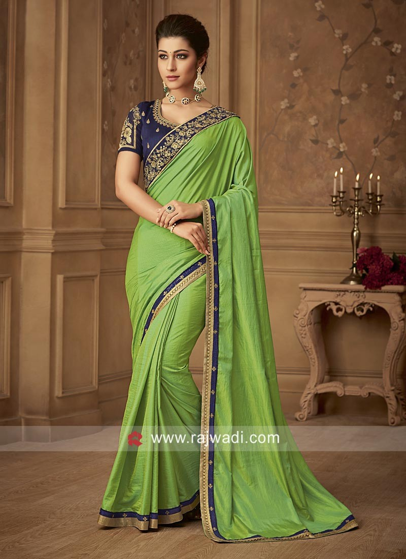 Parrot Green Art Silk Saree