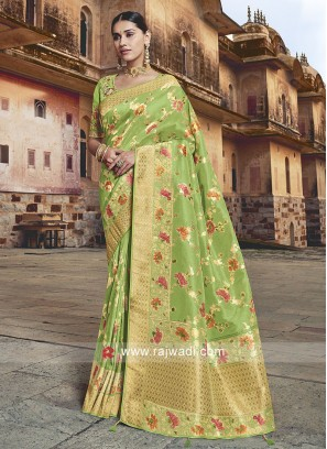 Parrot Green Banarasi Silk Saree