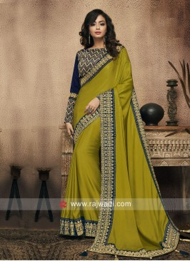 Parrot Green Border Work Saree