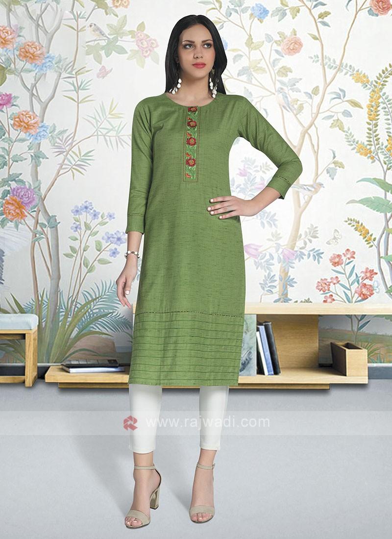 Parrot Green Color Cotton Kurti