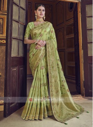 Parrot Green Color Dola Silk Saree