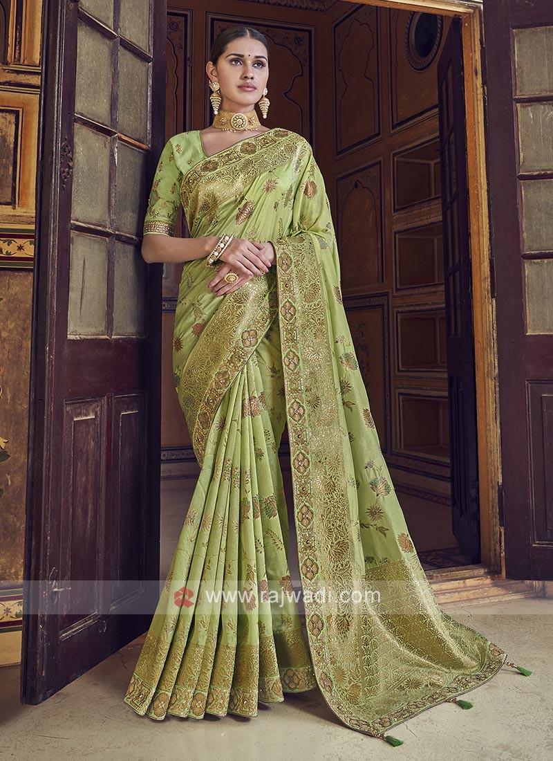 Parrot Green Color Dola Silk Saree