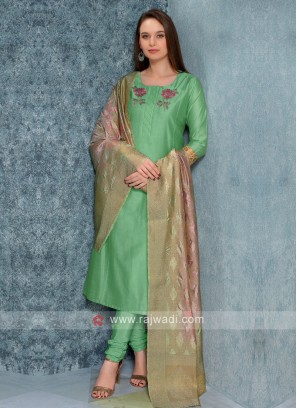 Parrot green Color Kurta with Churidar & Dupatta