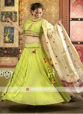 Parrot green color navratri chaniya choli