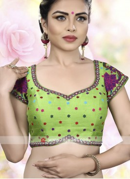 Parrot Green Color Ready Choli