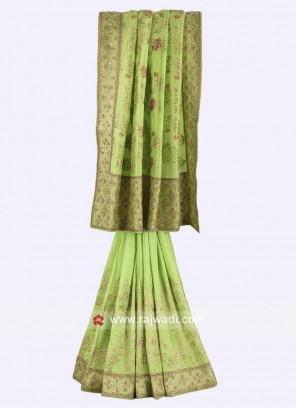 Parrot green color silk saree