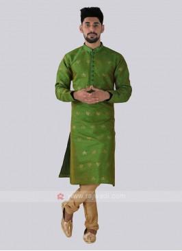 Parrot green & Golden Kurta Pajama