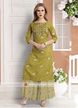 parrot green kurti with palazzo