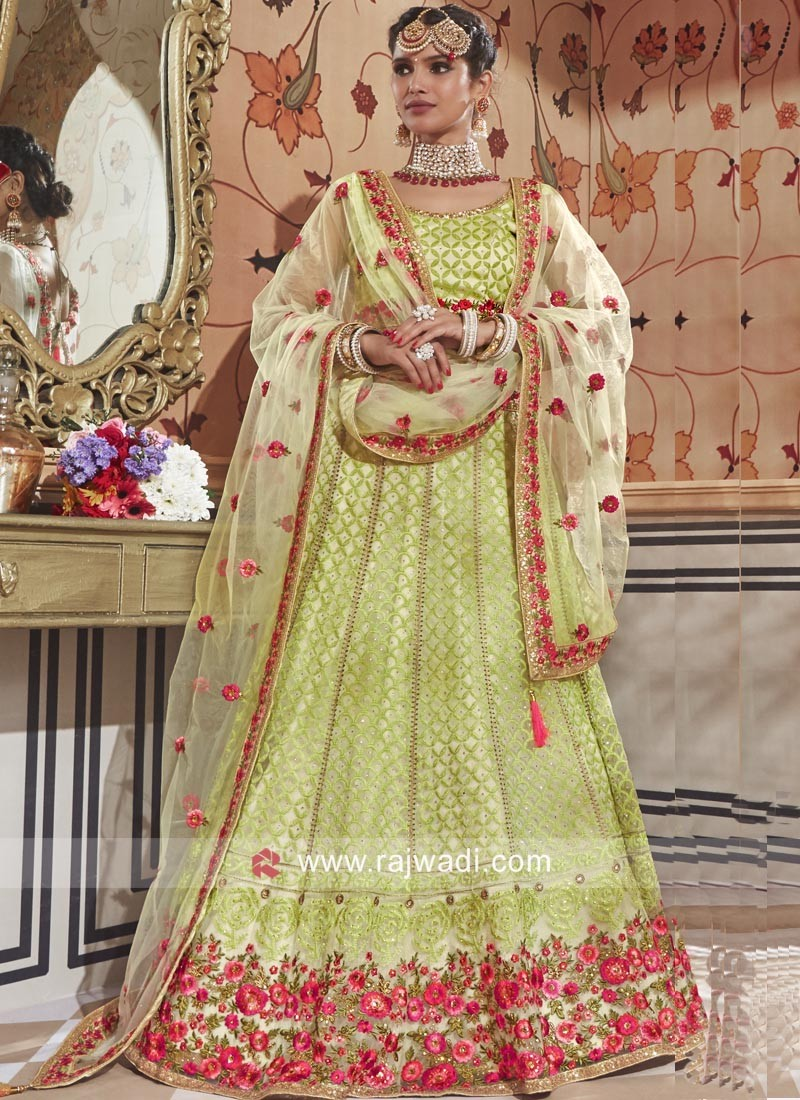 Parrot Green Lucknowi Work Lehenga