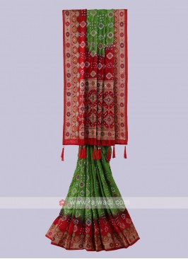 Parrot Green & Red Bandhani Saree