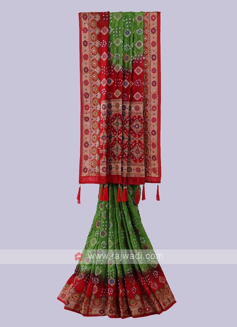 Parrot Green & Red Bandhani Saree