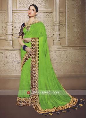 Parrot green saree with blouse