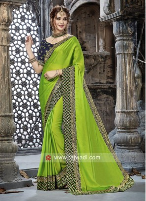 Parrot Green Saree with Dark Blue Blouse
