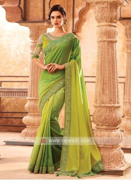 Parrot Green Shaded Chiffion Silk Saree
