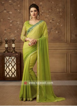 Parrot Green Shaded Party Wear Saree