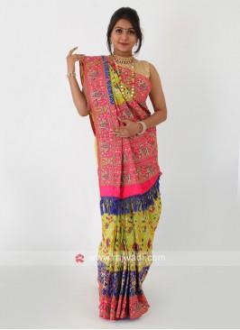 Parrot Green Silk Saree