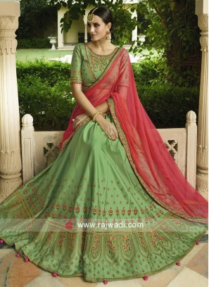 Parrot Green Soft Silk Lehenga