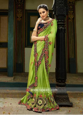 Parrot Green Wedding Designer Saree