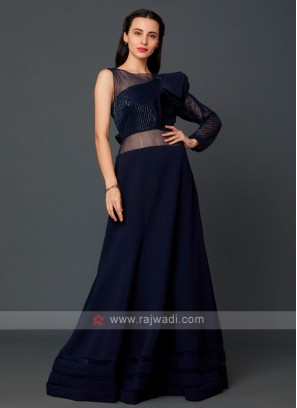 Party Gown In Navy Blue