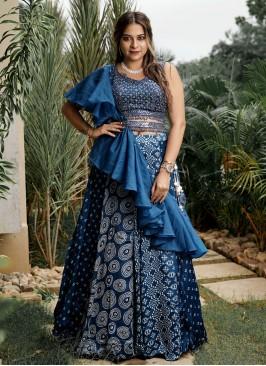 Party Wear Blue Color  Tissue Silk Lehenga Choli