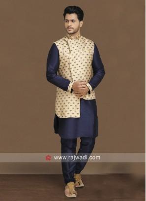 Party Wear Blue Nehru Jacket