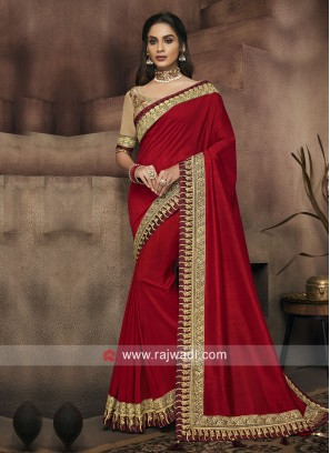 Party Wear Border Work Saree