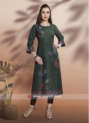 Party Wear Bottle Green Kurti