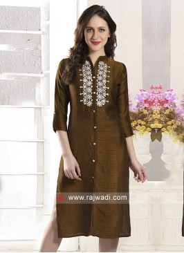 Party Wear Brown Color Kurti