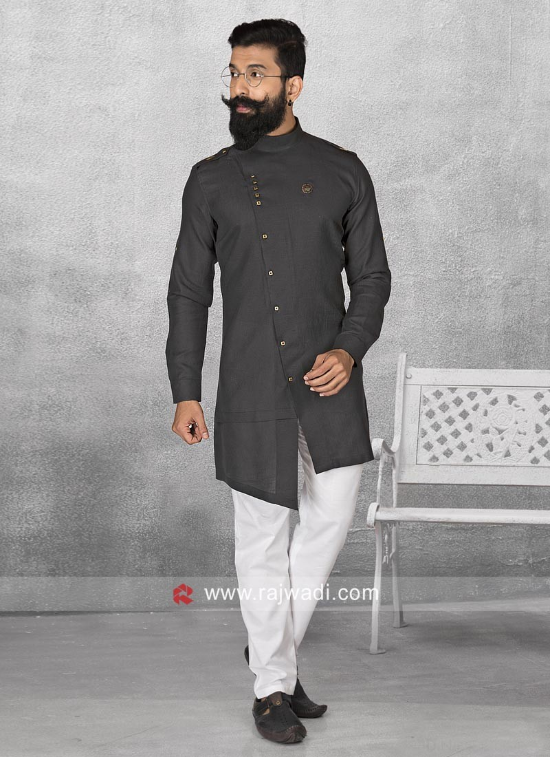 Party Wear Black Pathani Suit