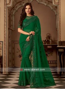 Party Wear Chiffon Silk Sari in Green