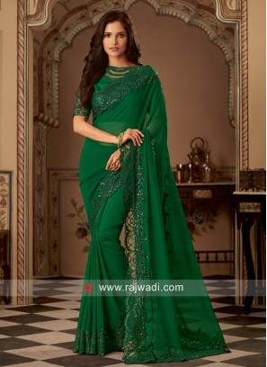 Party Wear Chiffon Silk Sari in Green