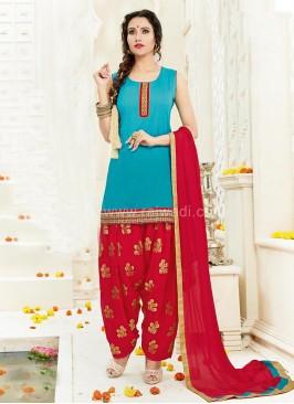 Party Wear Cotton Silk Patiala Suit
