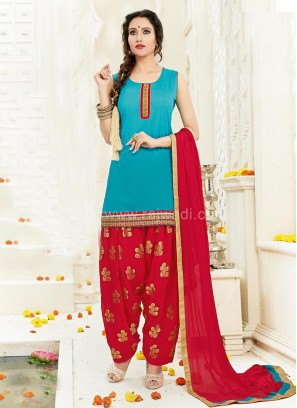 Party Wear Cotton Silk Patiala Suit