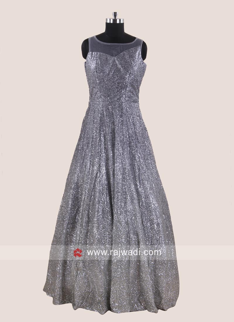 Party Wear Dark Grey Gown