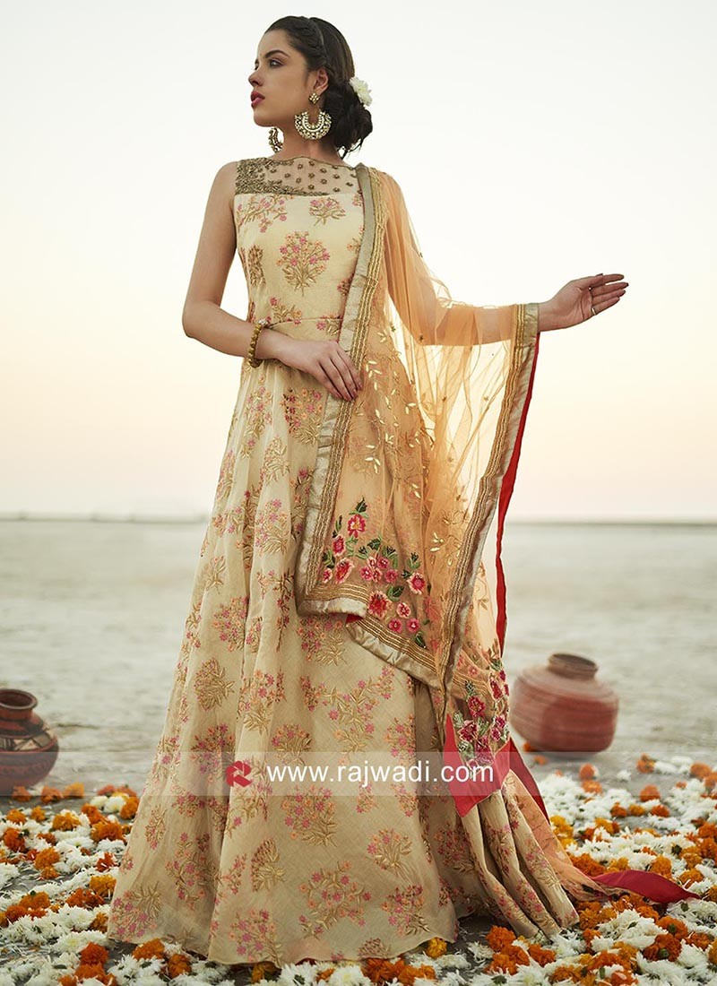 Party Wear Floral Embroidered Anarkali Dress