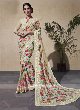 Party Wear Flower Print Saree