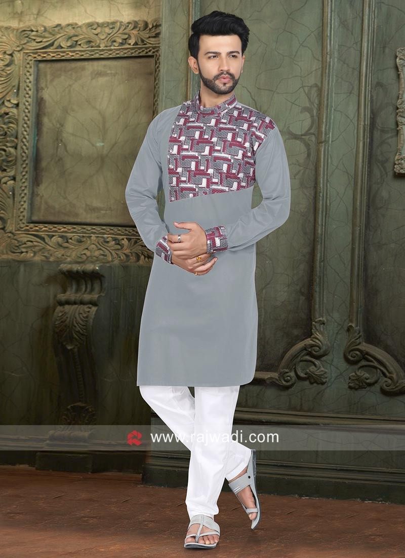 Party Wear Grey Color Pathani Set