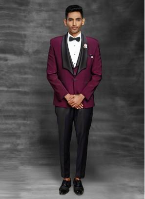 Party Wear Imported Dark Purple Suit