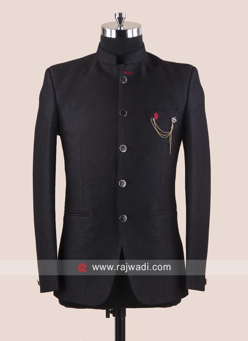 Party Wear Jodhpuri Suit In Dark Grey