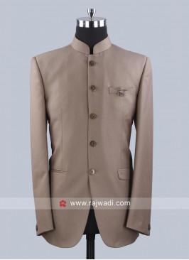 Party Wear Jodhpuri Suit In Khaki