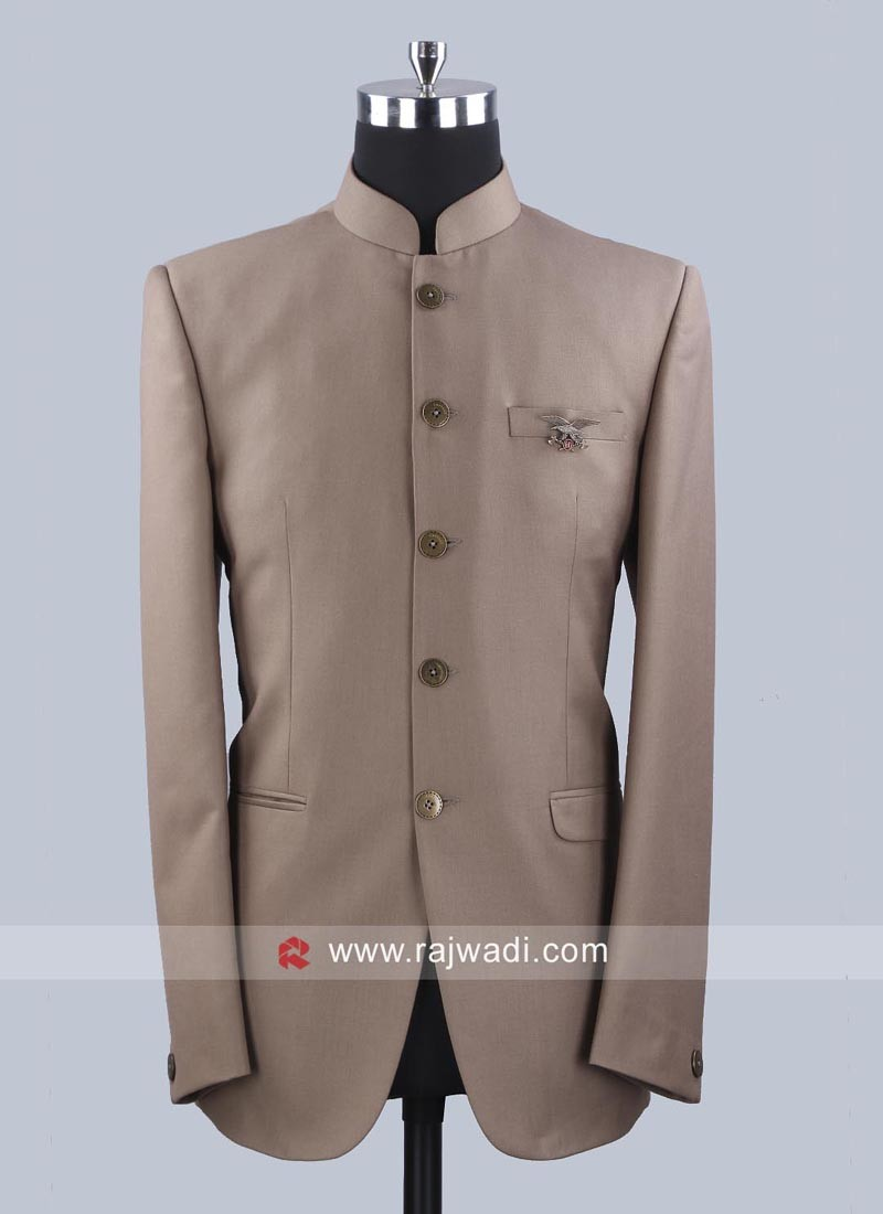 Party Wear Jodhpuri Suit In Khaki
