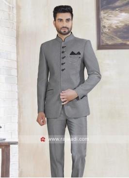Party Wear Jodhpuri Suit In Silver