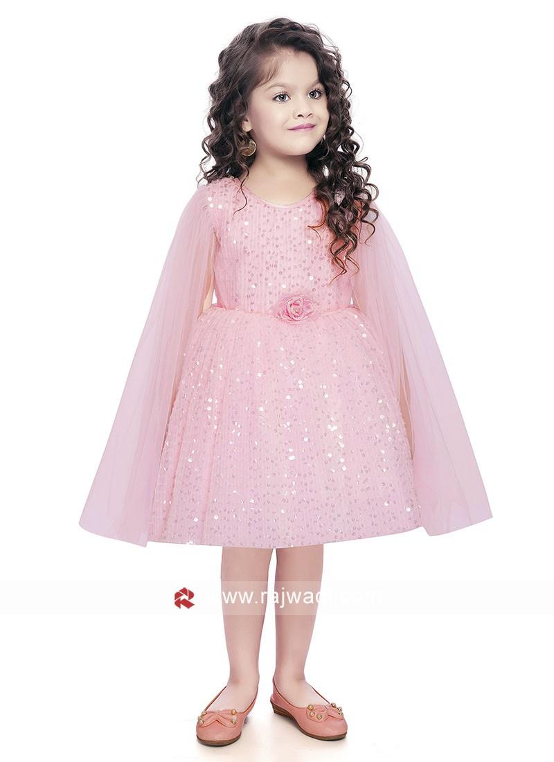 Party Wear Kids Gown in Light Pink