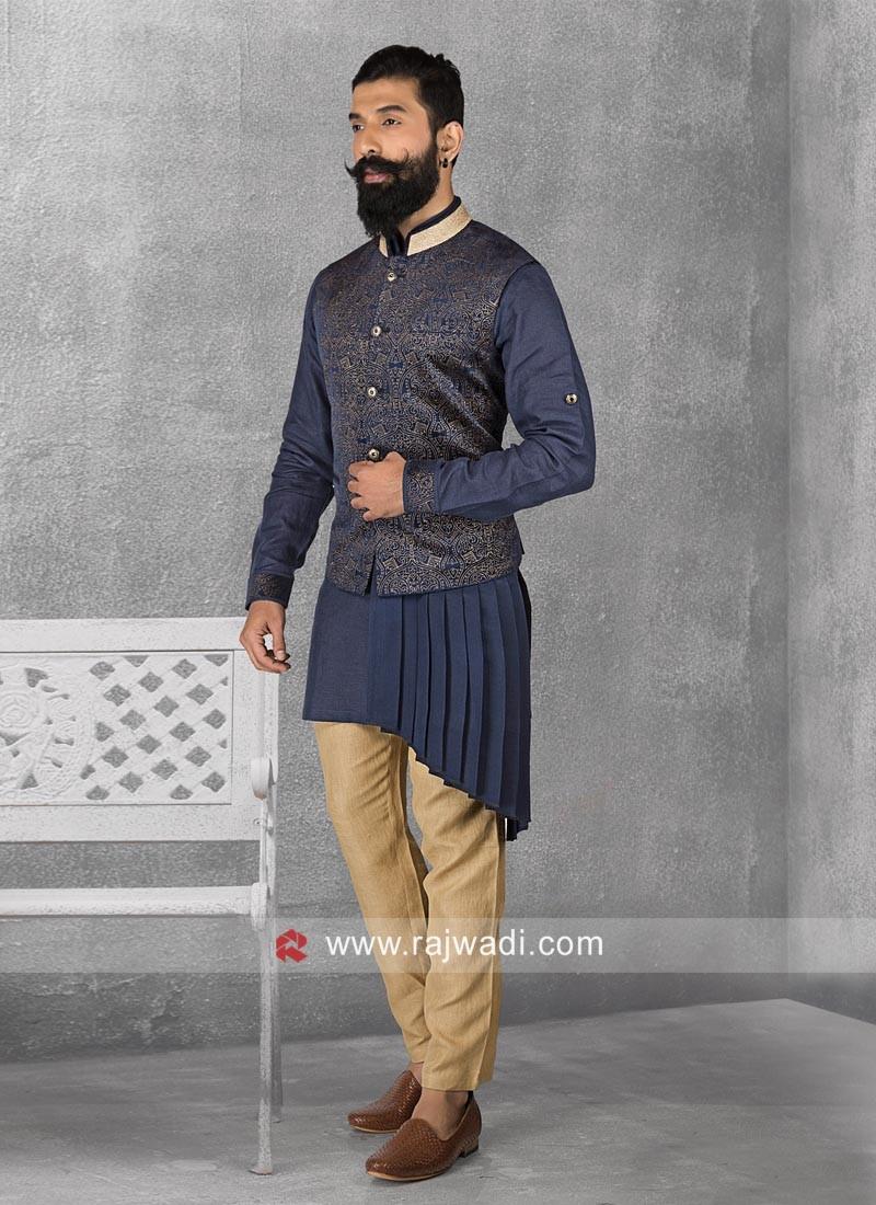 Party Wear Navy Color Nehru Jacket
