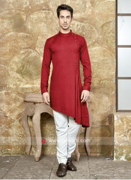 Party Wear Maroon Color Pathani Set
