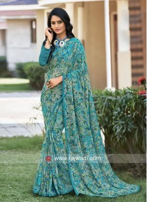 Party Wear Multi Print Saree