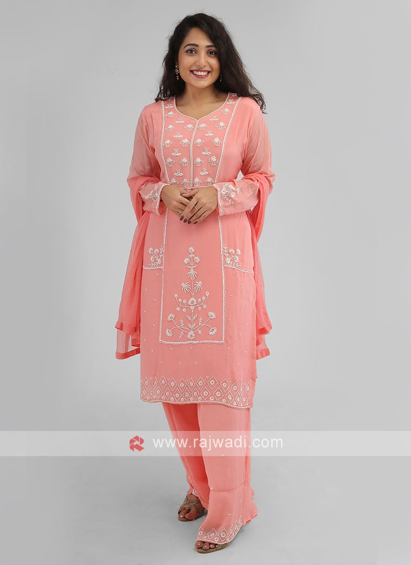 Party Wear Palazzo Suit In Peach Color