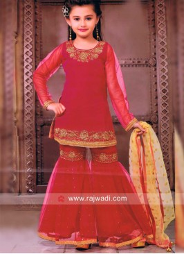 Party Wear Palazzo Suit In Red