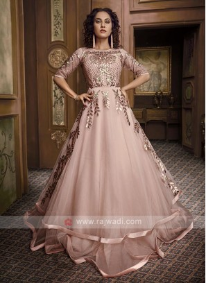party wear peach color gown